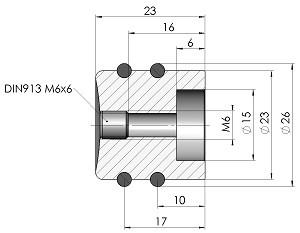Drehknopf DK26-23-M6-Massblatt-mini