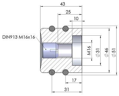 Drehknopf DK51-43-Ma8-Massblatt-mini