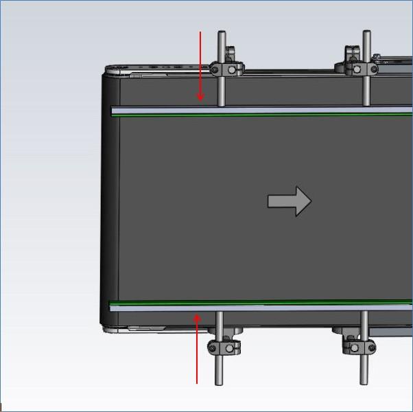 Verstellbereich der Kunststoff-Seitenführungen