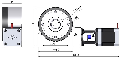 Rotationstisch MDT36012-B Maßblatt