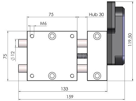 Massblatt Motorpositioniertisch kurz MPT3012-AS-B