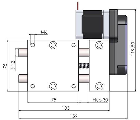 Abmessungen Motorpositioniertisch MPT3012-AS-M