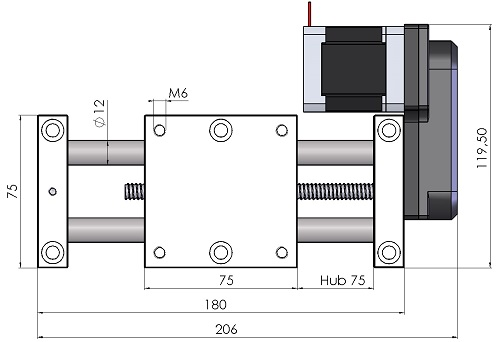 Linearachse MPT7212-AS-M Maßblatt
