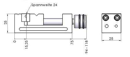 Schraubstock 25x25 Massblatt